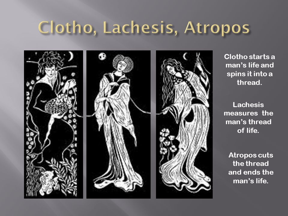 Clotho starts a man's life and spins it into a thread. Lachesis measures the man's thread of life. Atropos cuts the thread and ends the man's life.