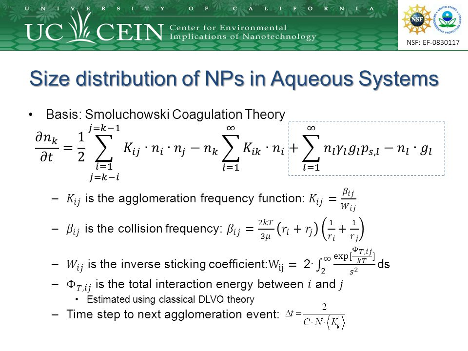 NSF: EF-0830117 Size distribution of NPs in Aqueous Systems