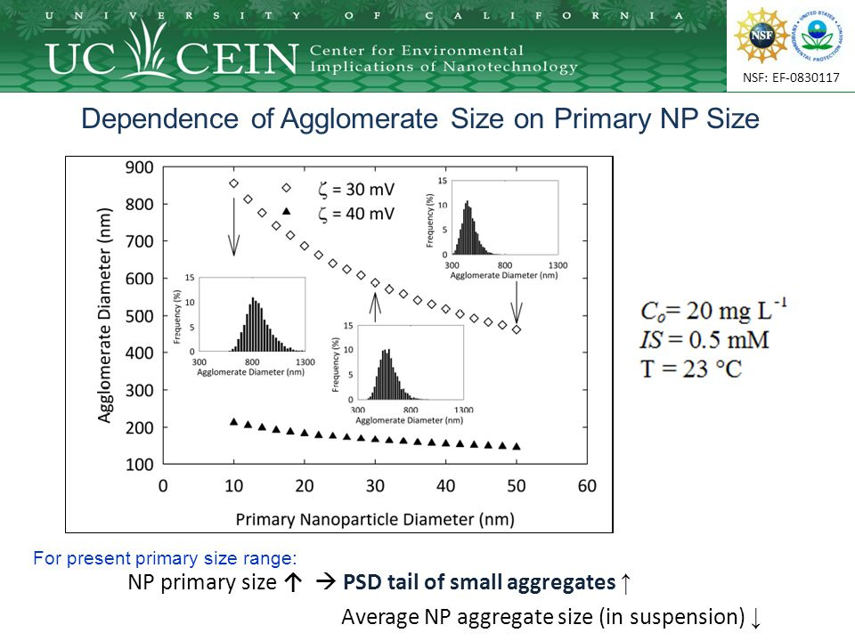 NSF: EF-0830117 Dependence of Agglomerate Size on Primary NP Size NP primary size ↑  PSD tail of small aggregates ↑ Average NP aggregate size (in suspension) ↓ For present primary size range: