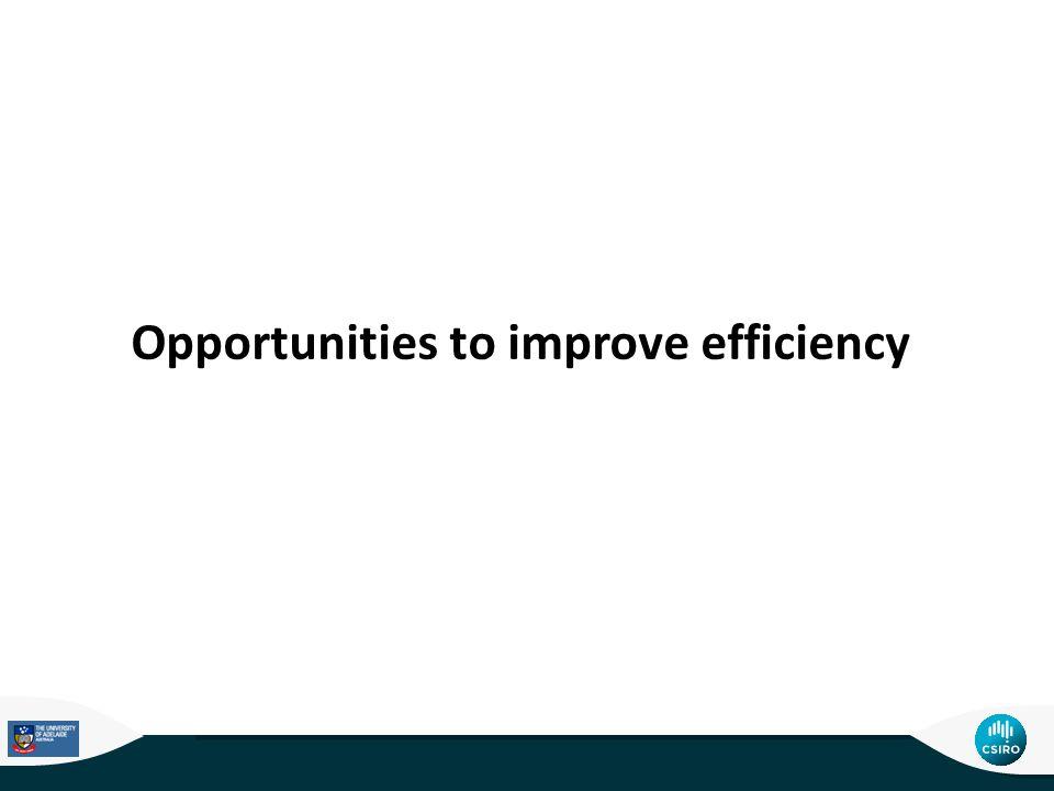 Opportunities to improve efficiency