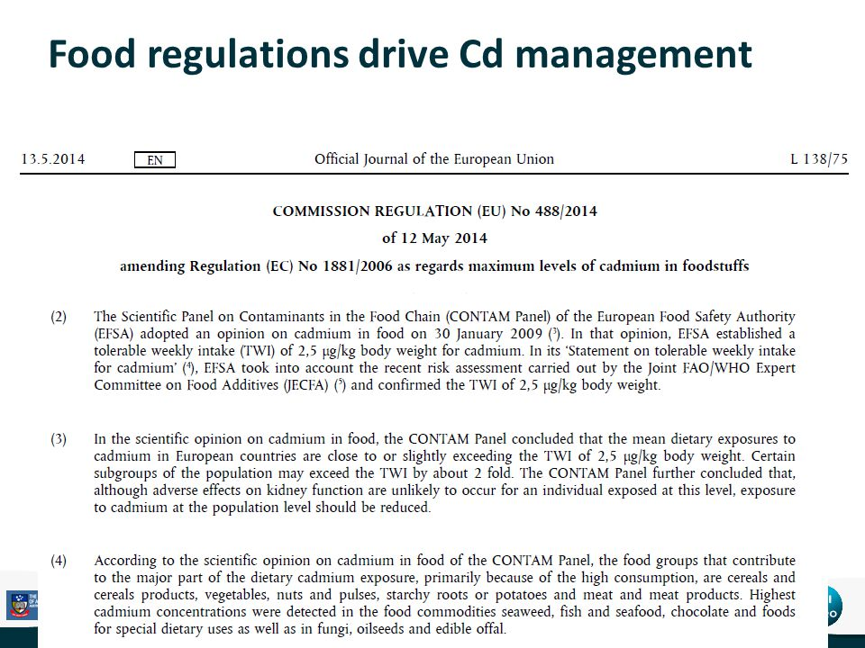 Food regulations drive Cd management