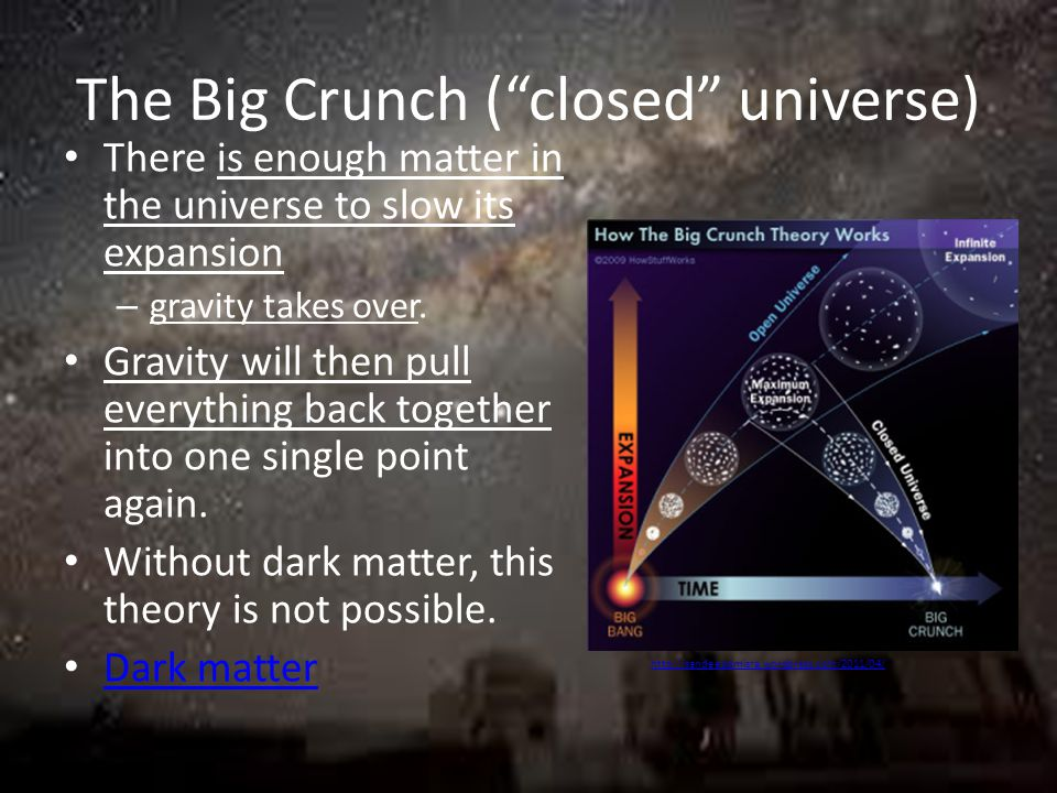 The Big Crunch ( closed universe) There is enough matter in the universe to slow its expansion – gravity takes over.