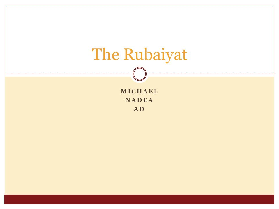 MICHAEL NADEA AD The Rubaiyat