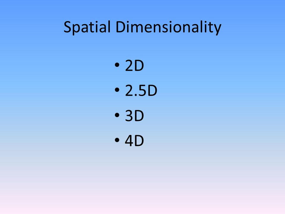 Spatial Dimensionality 2D 2.5D 3D 4D
