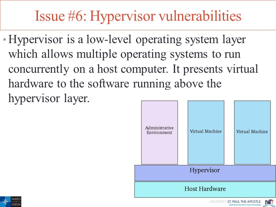 Issue #6: Hypervisor vulnerabilities Hypervisor is a low-level operating system layer which allows multiple operating systems to run concurrently on a host computer.