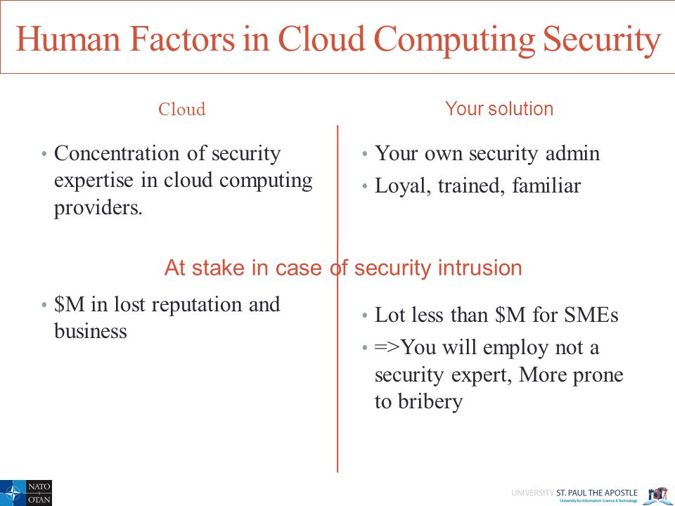 Human Factors in Cloud Computing Security Cloud Concentration of security expertise in cloud computing providers.