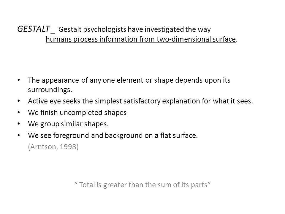 5.FIGURE-GROUND (Prägnanz) The eye differentiates an object form its surrounding area.