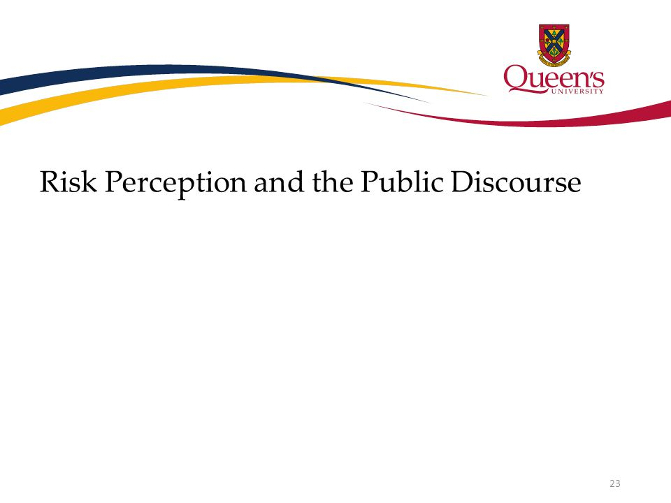 Risk Perception and the Public Discourse 23