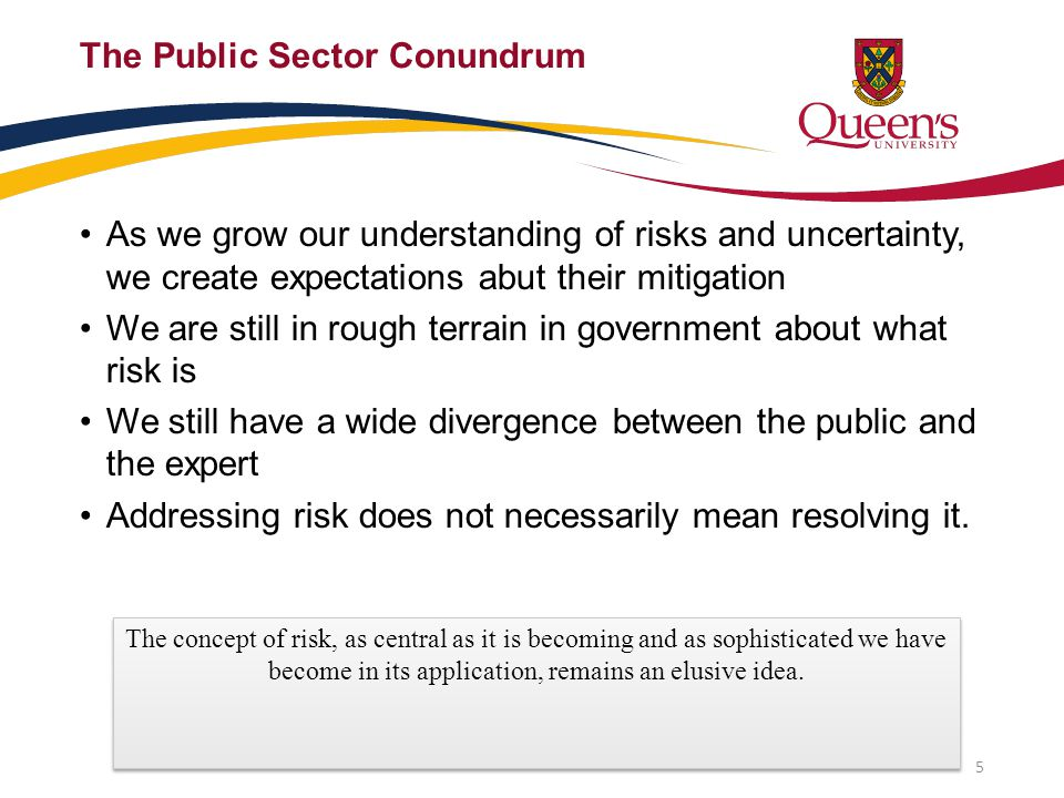 The Public Sector Conundrum As we grow our understanding of risks and uncertainty, we create expectations abut their mitigation We are still in rough