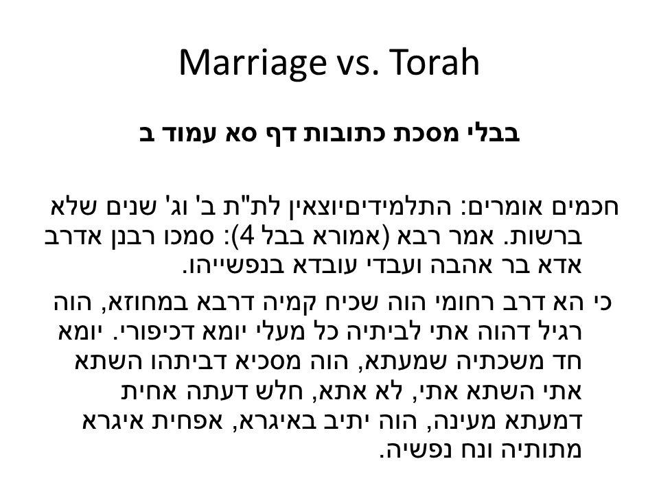 Marriage vs. Torah בבלי מסכת כתובות דף סא עמוד ב חכמים אומרים : התלמידיםיוצאין לת