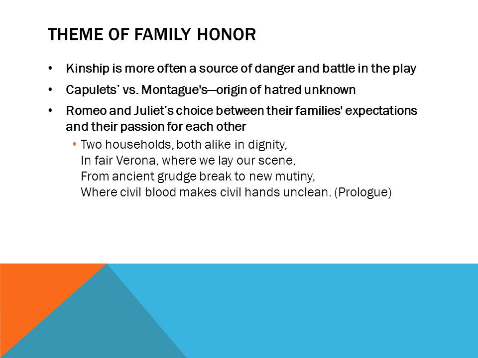 THEME OF FAMILY HONOR Kinship is more often a source of danger and battle in the play Capulets' vs. Montague's—origin of hatred unknown Romeo and Juli
