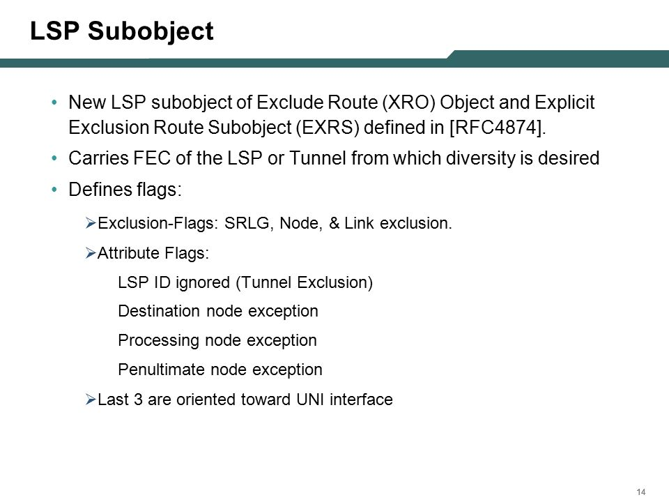 14 LSP Subobject New LSP subobject of Exclude Route (XRO) Object and Explicit Exclusion Route Subobject (EXRS) defined in [RFC4874].