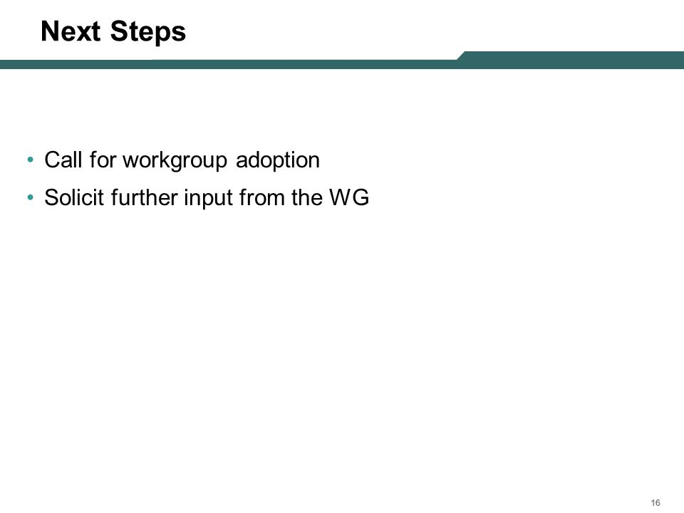 16 Next Steps Call for workgroup adoption Solicit further input from the WG
