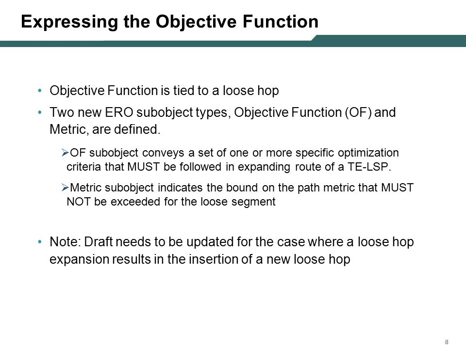 888 Expressing the Objective Function Objective Function is tied to a loose hop Two new ERO subobject types, Objective Function (OF) and Metric, are defined.