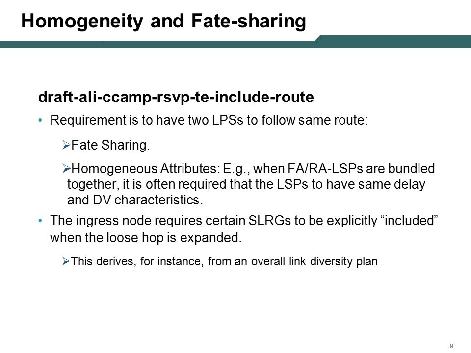 999 Homogeneity and Fate-sharing draft-ali-ccamp-rsvp-te-include-route Requirement is to have two LPSs to follow same route:  Fate Sharing.