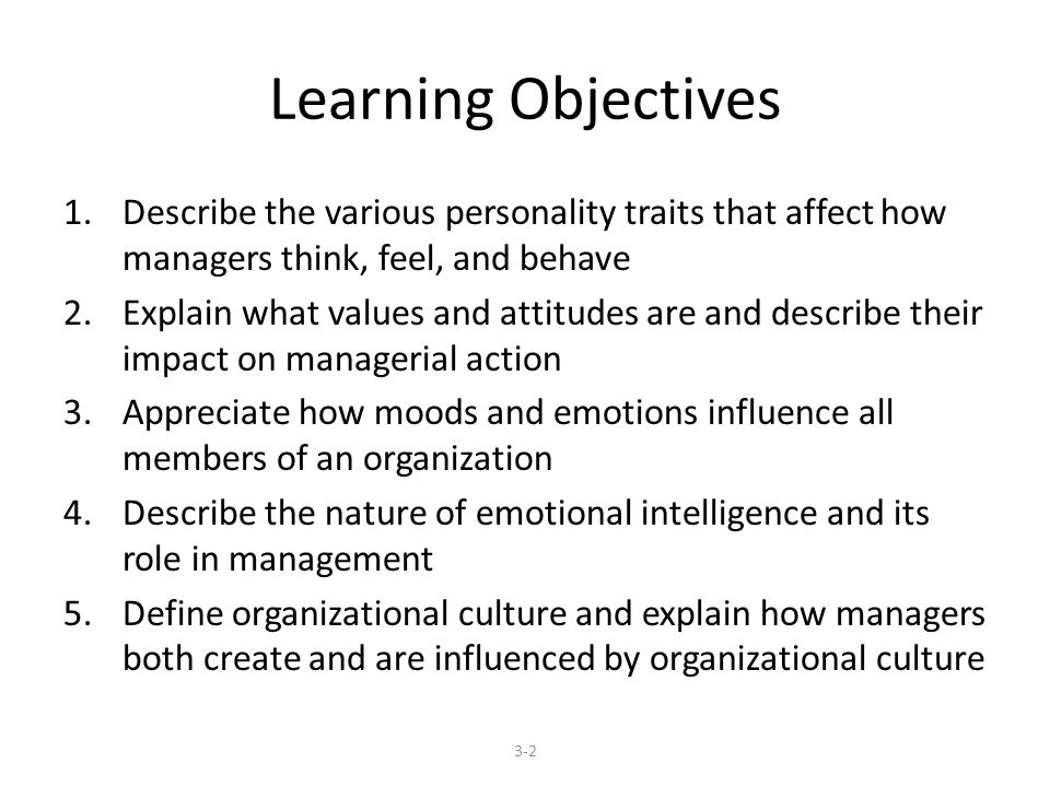 Learning Objectives 1.Describe the various personality traits that affect how managers think, feel, and behave 2.Explain what values and attitudes are and describe their impact on managerial action 3.Appreciate how moods and emotions influence all members of an organization 4.Describe the nature of emotional intelligence and its role in management 5.Define organizational culture and explain how managers both create and are influenced by organizational culture 3-2