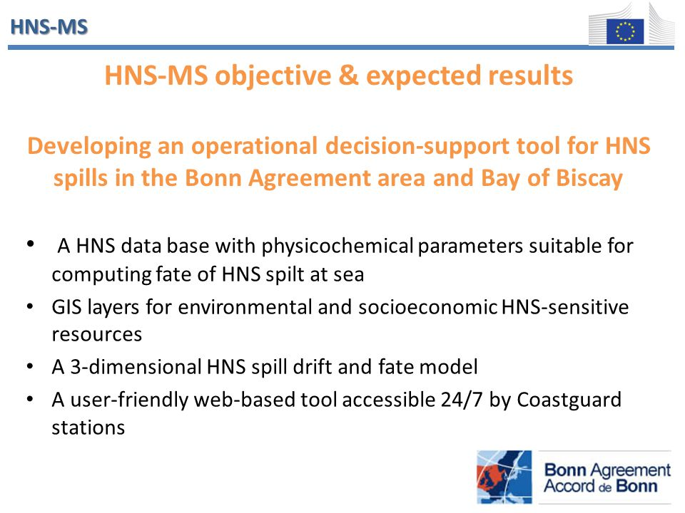 HNS-MS HNS-MS objective & expected results Developing an operational decision-support tool for HNS spills in the Bonn Agreement area and Bay of Biscay