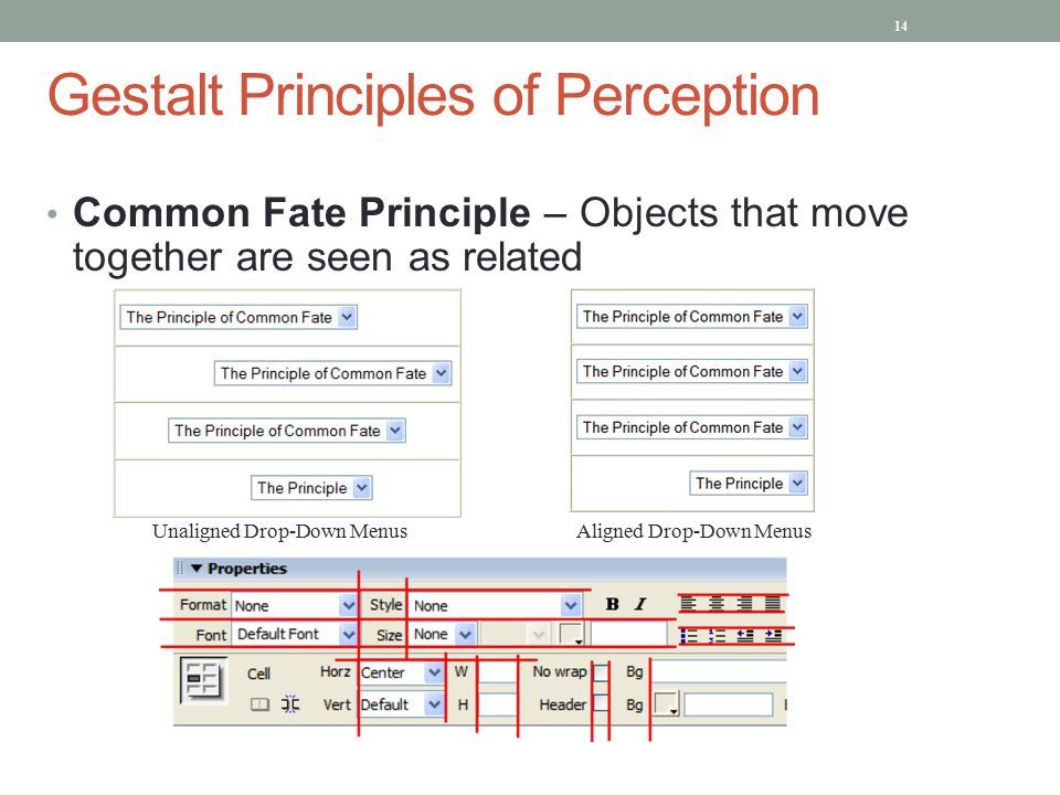 Gestalt Principles of Perception Common Fate Principle – Objects that move together are seen as related Unaligned Drop-Down Menus Aligned Drop-Down Menus 14
