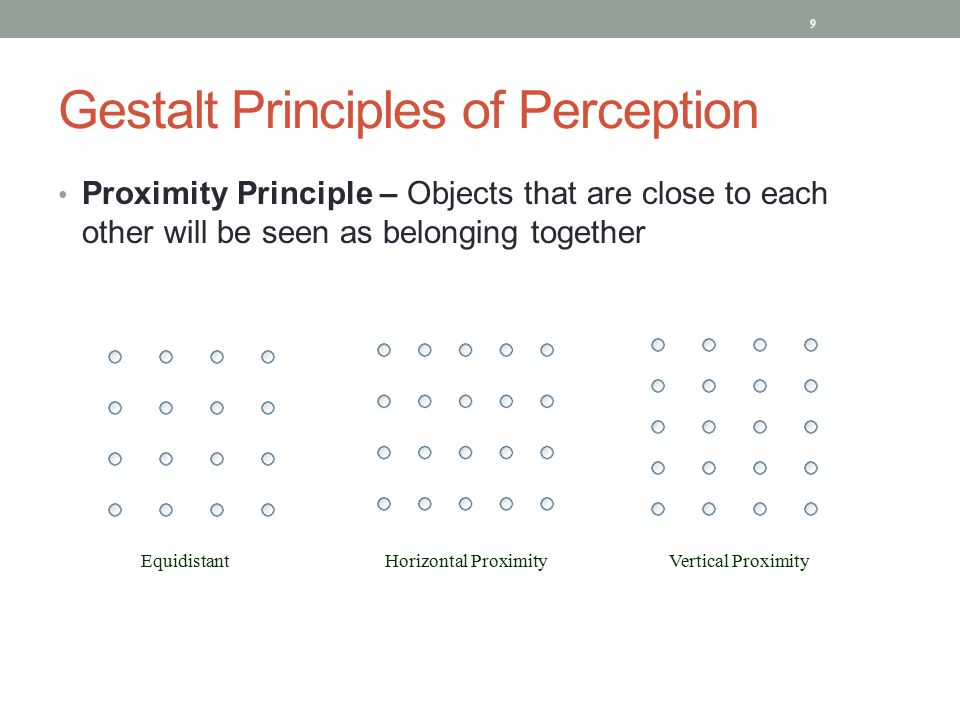 Gestalt Principles of Perception Proximity Principle – Objects that are close to each other will be seen as belonging together 9 Equidistant Horizontal Proximity Vertical Proximity