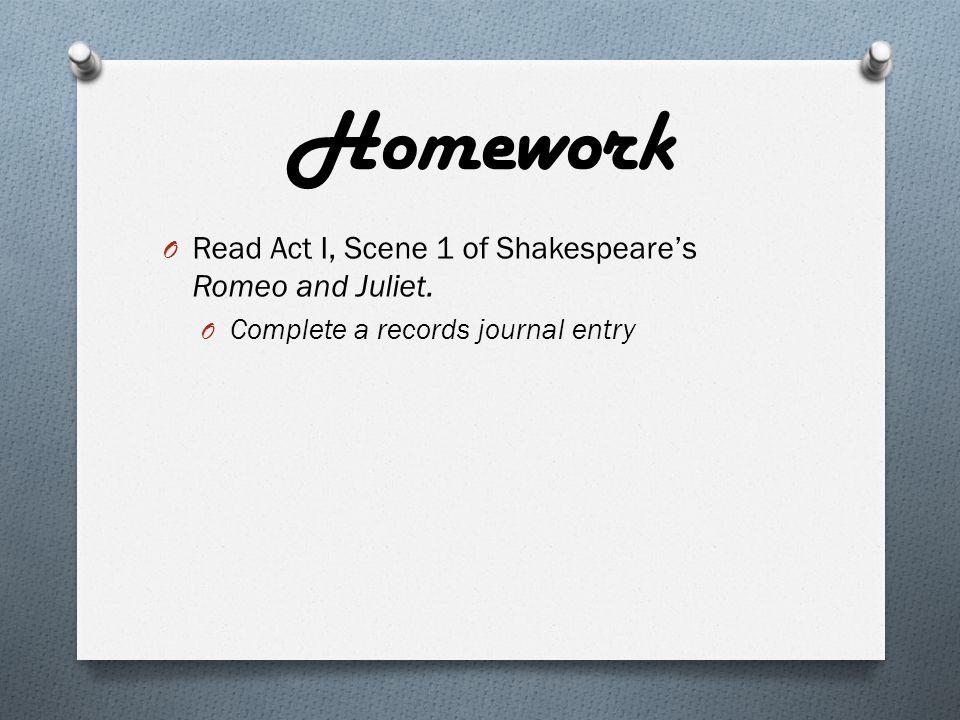 Homework O Read Act I, Scene 1 of Shakespeare's Romeo and Juliet.