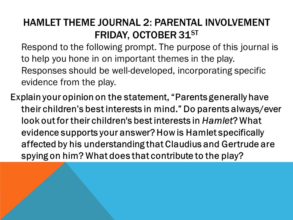 HAMLET THEME JOURNAL 2: PARENTAL INVOLVEMENT FRIDAY, OCTOBER 31 ST Respond to the following prompt.