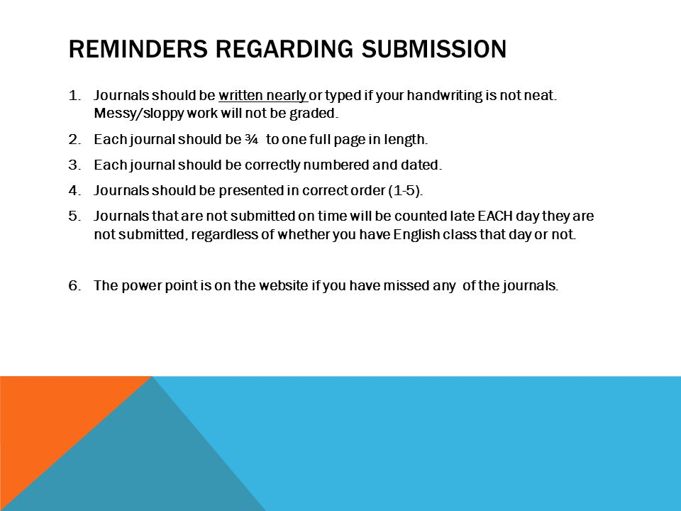 REMINDERS REGARDING SUBMISSION 1.Journals should be written nearly or typed if your handwriting is not neat.