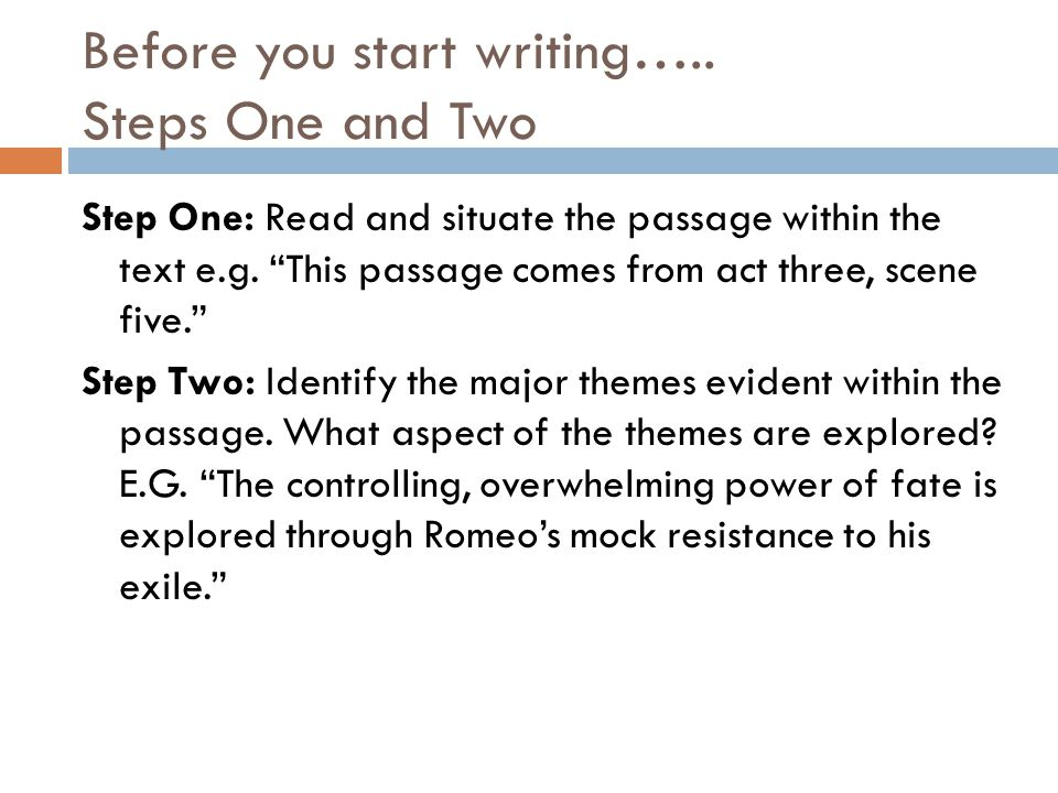 Before you start writing…..