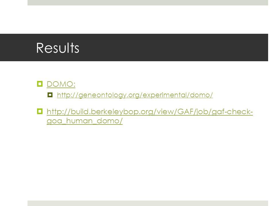 Results  DOMO: DOMO:  http://geneontology.org/experimental/domo/ http://geneontology.org/experimental/domo/  http://build.berkeleybop.org/view/GAF/job/gaf-check- goa_human_domo/ http://build.berkeleybop.org/view/GAF/job/gaf-check- goa_human_domo/