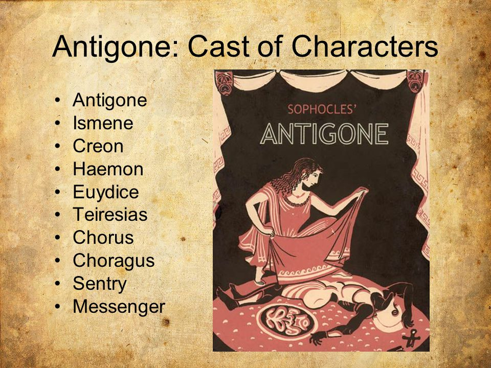 Antigone: Cast of Characters Antigone Ismene Creon Haemon Euydice Teiresias Chorus Choragus Sentry Messenger