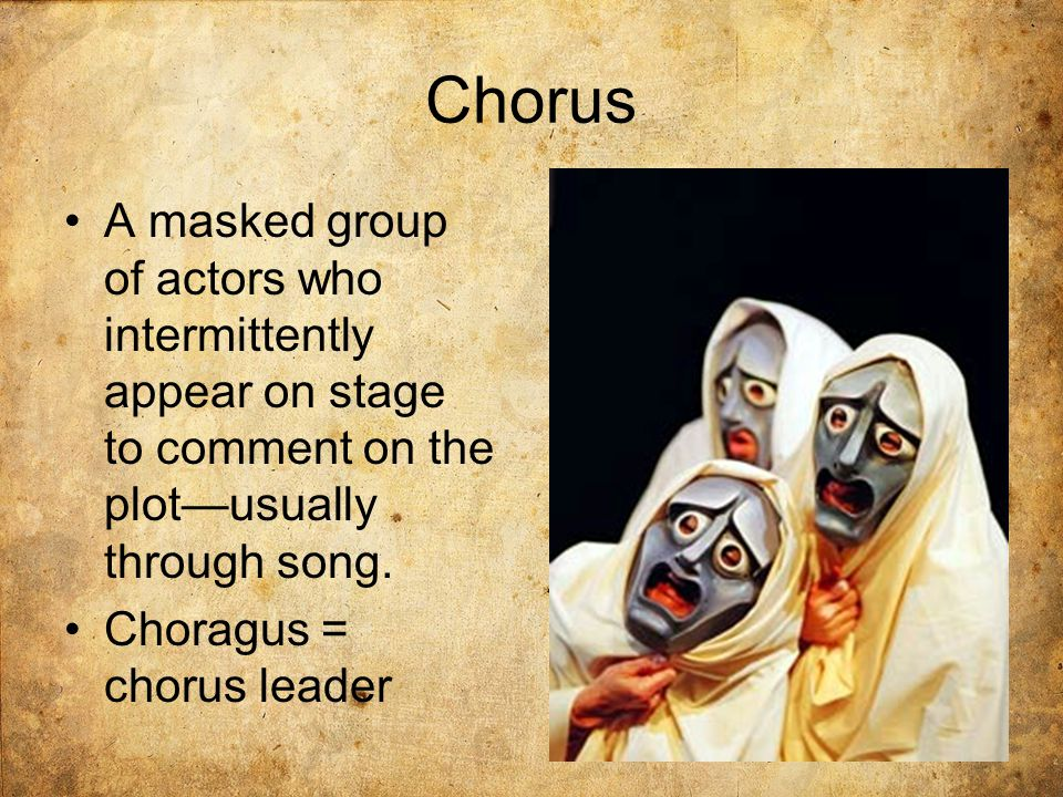 Parts of a Greek Tragedy Simple Structure: Prologue spoken, chorus enters (singing and dancing) with additional scenes that alternate between spoken sections and song Prologue: Usually gives mythological background Parodos: Sung by the chorus; it enters dancing Episodes: This is the first of many episodes (literally between odes ), when the characters and chorus talk and main action occurs.
