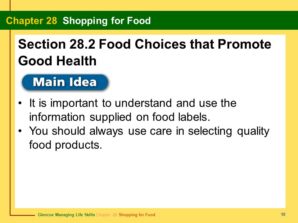 Glencoe Managing Life Skills Chapter 28 Shopping for Food Chapter 28 Shopping for Food 11 Content Vocabulary Academic Vocabulary allergen Daily Values sell-by date perishable use-by date expiration date pasteurized enable regulates