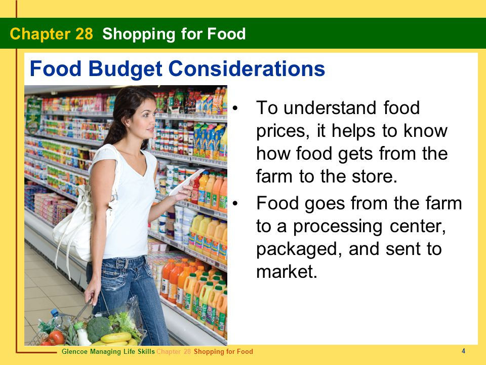 Glencoe Managing Life Skills Chapter 28 Shopping for Food Chapter 28 Shopping for Food 5 Food Budget Considerations Economic factors that affect food costs include processing, packaging, transportation, advertising, product form, and store type.