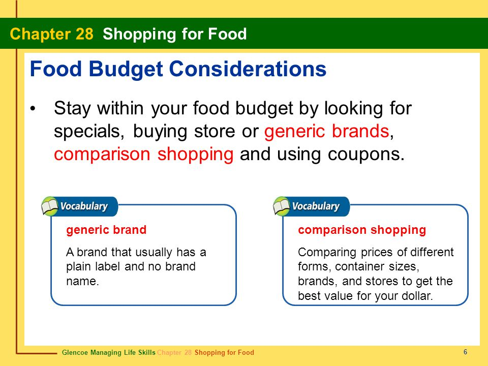 Glencoe Managing Life Skills Chapter 28 Shopping for Food Chapter 28 Shopping for Food 7 Food Budget Considerations Compare prices by checking the unit price.