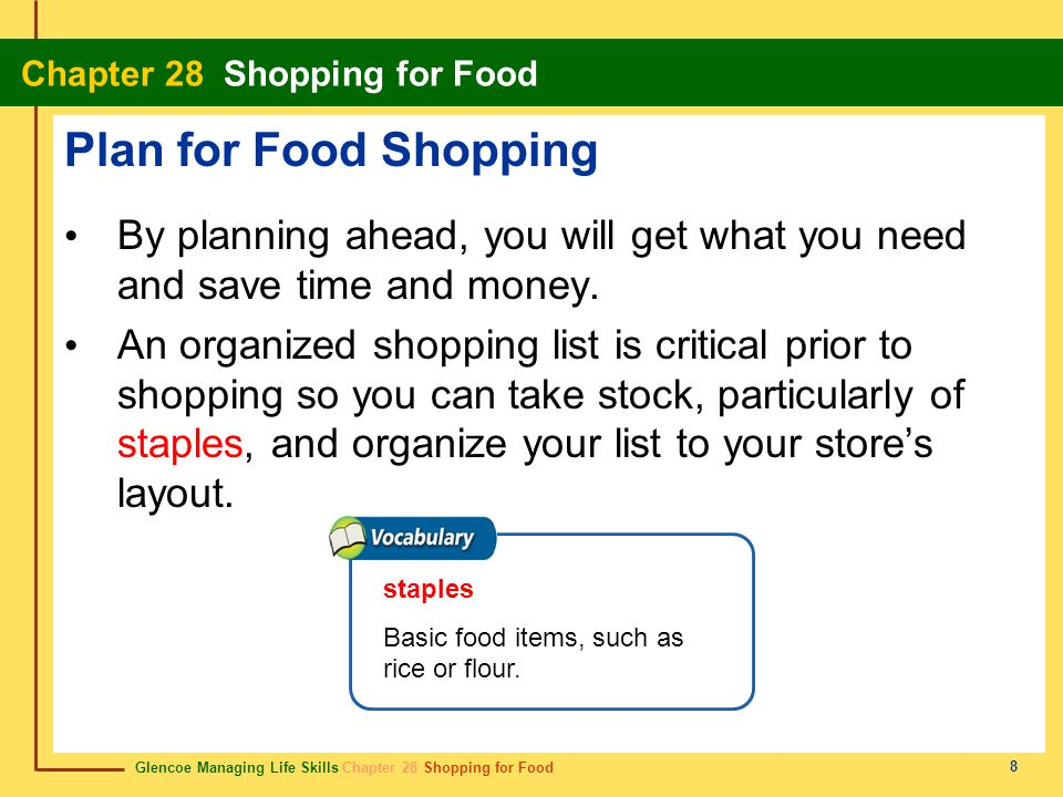 Glencoe Managing Life Skills Chapter 28 Shopping for Food Chapter 28 Shopping for Food 9 Plan for Food Shopping Where you shop makes a difference in what foods you plan to buy, such as supermarkets, co- ops, farmers' markets, or discount stores.