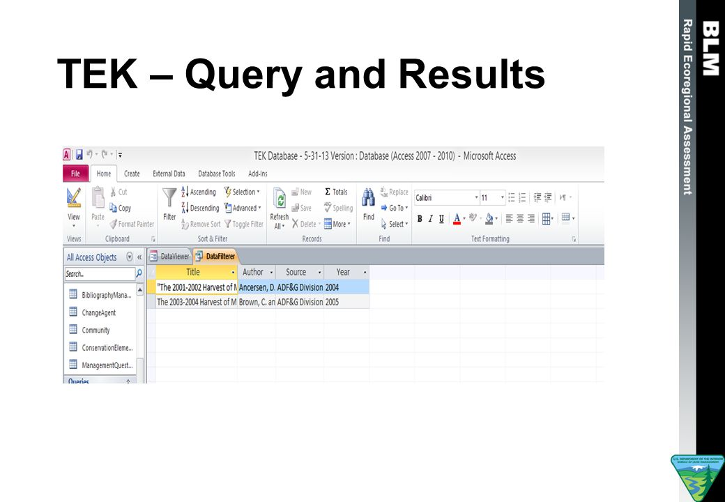 TEK – Query and Results