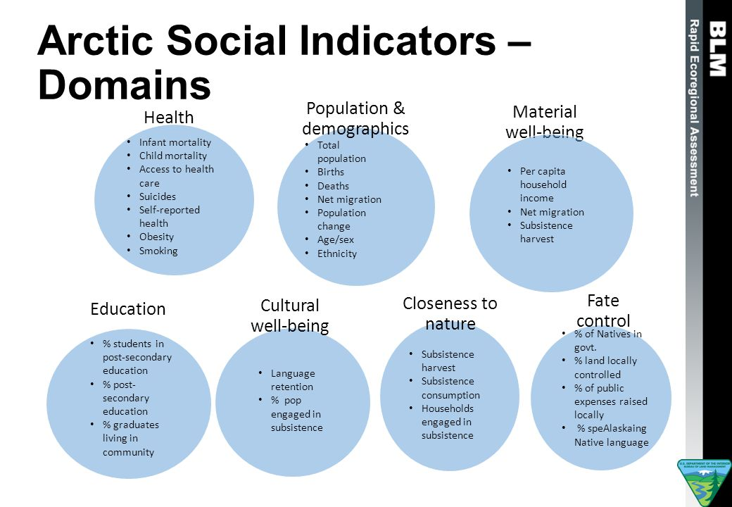 Arctic Social Indicators – Domains Health Population & demographics Material well-being Education Cultural well-being Closeness to nature Fate control Infant mortality Child mortality Access to health care Suicides Self-reported health Obesity Smoking Total population Births Deaths Net migration Population change Age/sex Ethnicity Per capita household income Net migration Subsistence harvest % students in post-secondary education % post- secondary education % graduates living in community Language retention % pop engaged in subsistence Subsistence harvest Subsistence consumption Households engaged in subsistence % of Natives in govt.