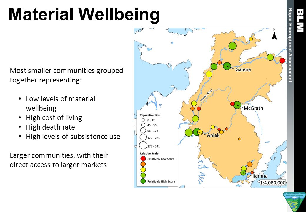 Material Wellbeing Most smaller communities grouped together representing: Low levels of material wellbeing High cost of living High death rate High levels of subsistence use Larger communities, with their direct access to larger markets