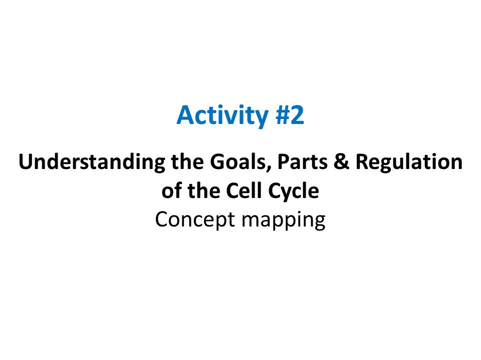 Activity #2 Understanding the Goals, Parts & Regulation of the Cell Cycle Concept mapping