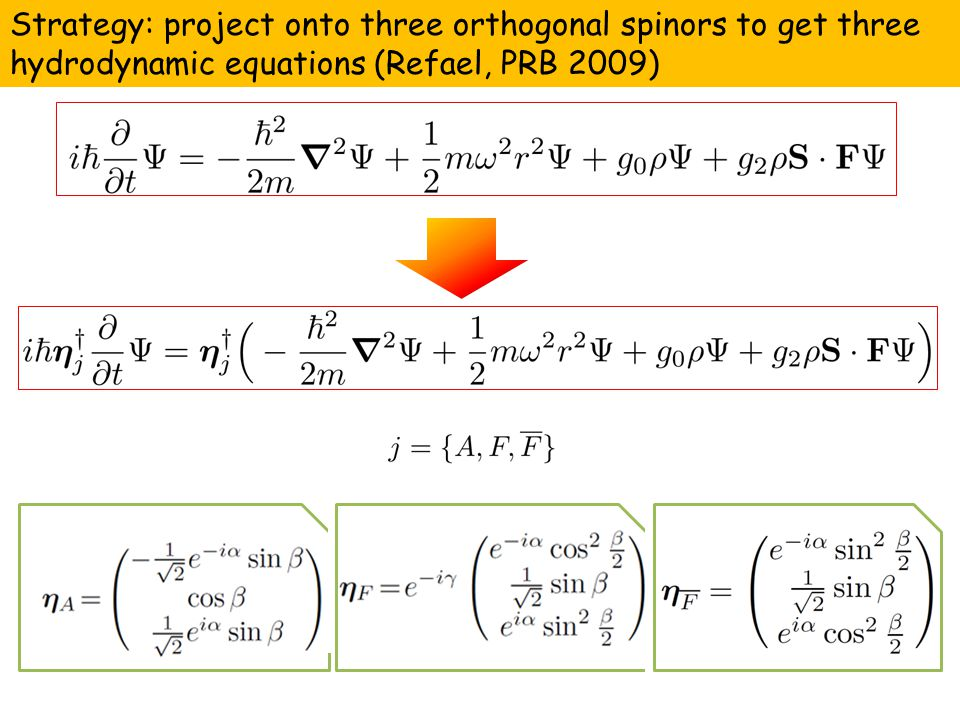 Strategy: project onto three orthogonal spinors to get three hydrodynamic equations (Refael, PRB 2009)