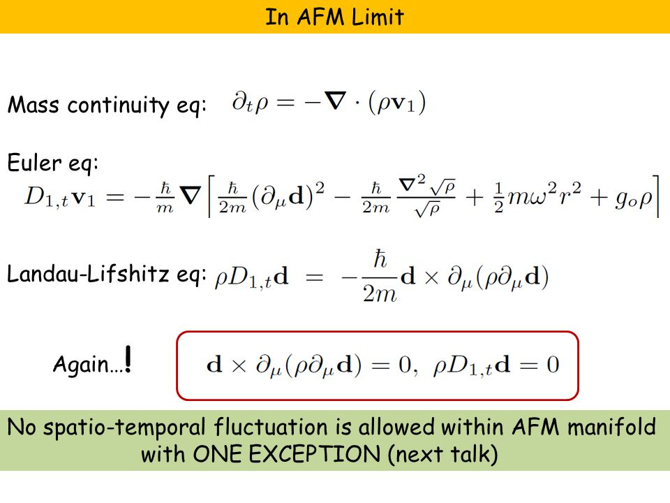 No spatio-temporal fluctuation is allowed within AFM manifold with ONE EXCEPTION (next talk) Mass continuity eq: Euler eq: Landau-Lifshitz eq: In AFM Limit Again… !