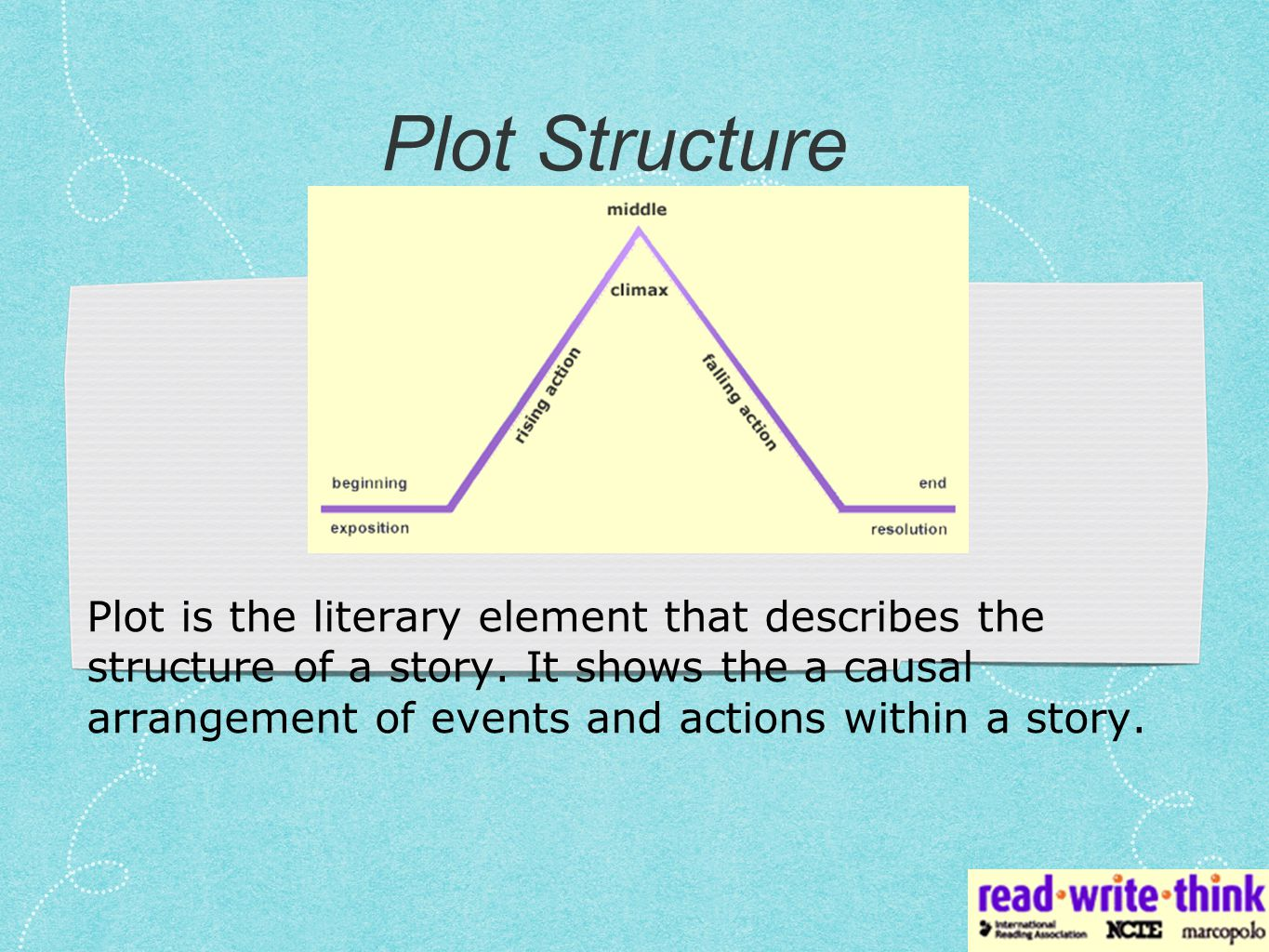 Freytag's Pyramid uses a five-part system to describe a story's plot.