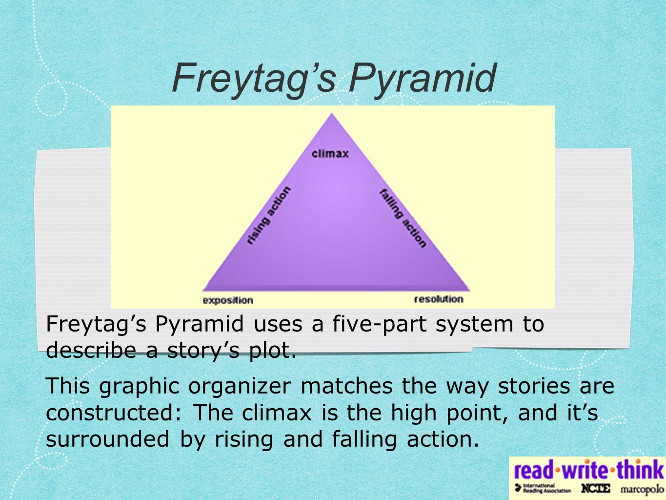 Freytag's Pyramid is often modified so that it extends slightly before and after the primary rising and falling action.