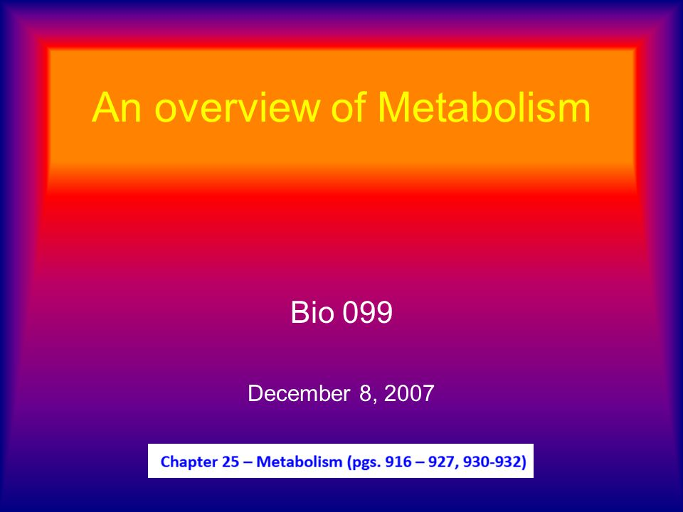 Metabolism Handout: Now we will add in the side arrows.