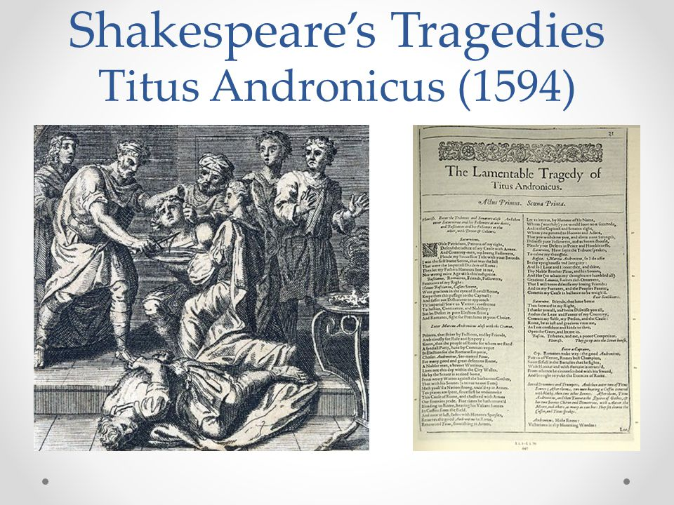 Shakespeare's Tragedies Titus Andronicus (1594)