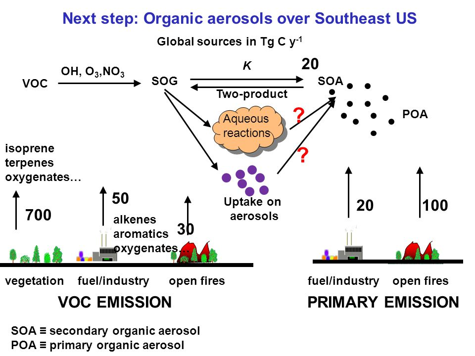Next step: Organic aerosols over Southeast US fuel/industry open fires OH, O 3,NO 3 SOGSOA POA K vegetation fuel/industry open fires 700 isoprene terp