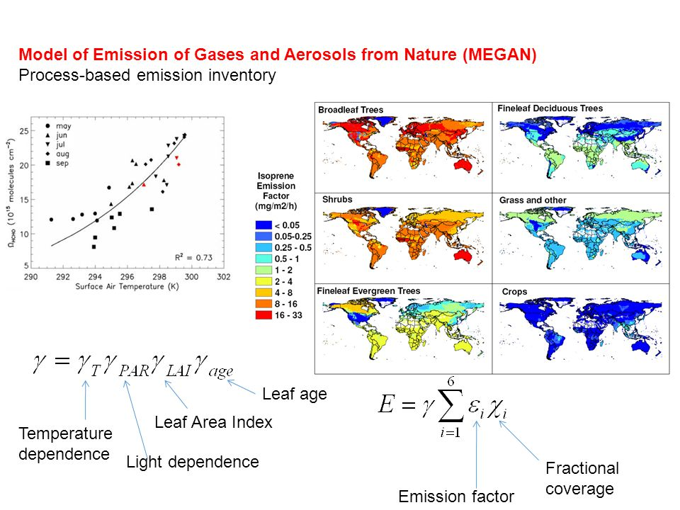 Model of Emission of Gases and Aerosols from Nature (MEGAN) Process-based emission inventory Temperature dependence Light dependence Leaf age Emission