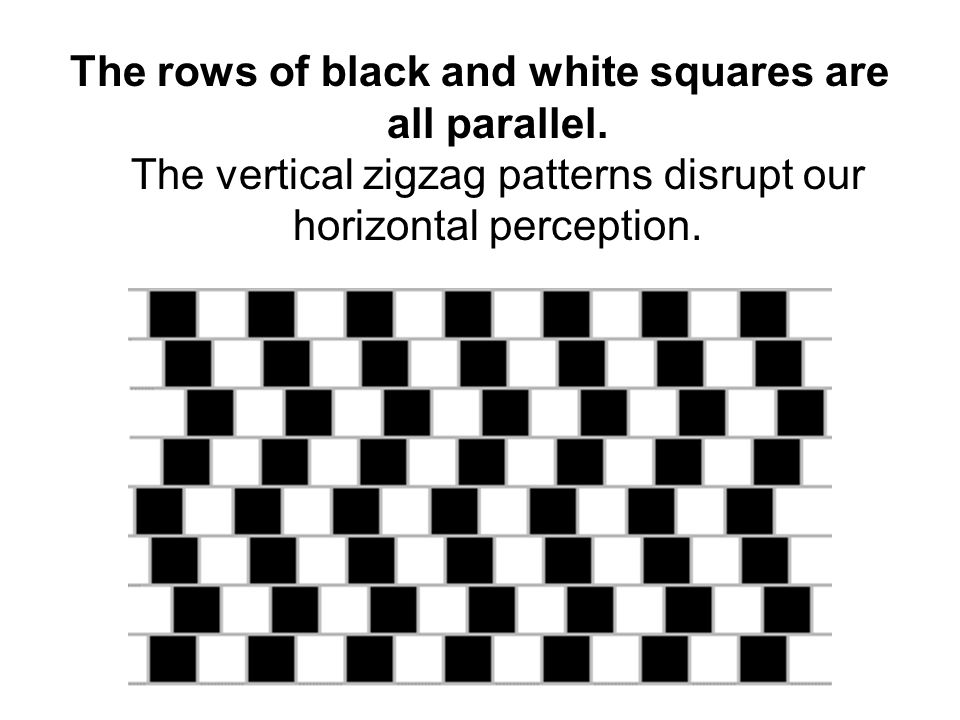 The rows of black and white squares are all parallel. The vertical zigzag patterns disrupt our horizontal perception.