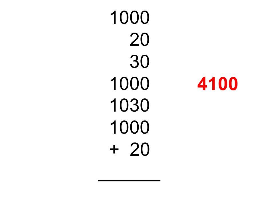 1000 20 30 1000 1030 1000 + 20 ______ 4100