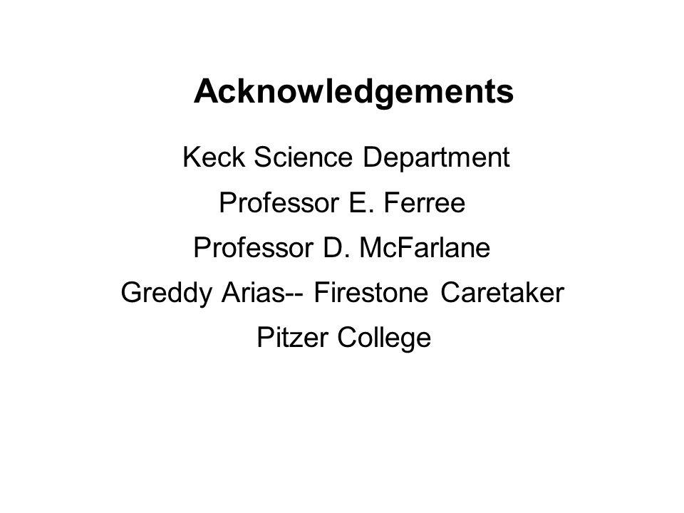Acknowledgements Keck Science Department Professor E.