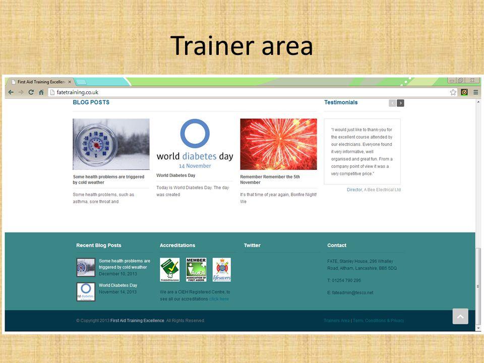 Trainer area